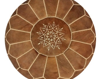 Unstuffed Moroccan Leather pouf ottoman with top embroidery available in Brown