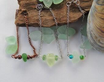 Green, UV Yellow and Aqua Lake Erie Beach Glass Bracelets, Authentic Beach Glass