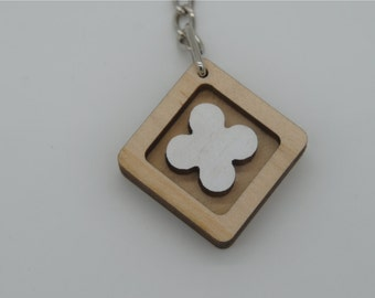 lucky clover white key chain(square)