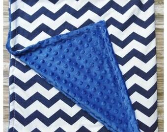 Navy Blue Chevron Minky Dot Baby Blanket