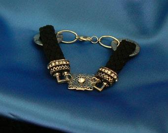 """Vintage black rope and """"diamond"""" bracelet"""