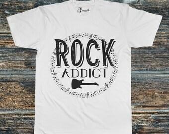 Rock Addict. Mens t-shirt. S, M, L, XL. Music tees