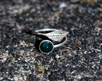 Silver Leaf Birthstone Ring