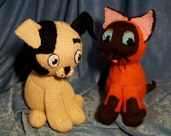 Knitted toys Cat and Dog