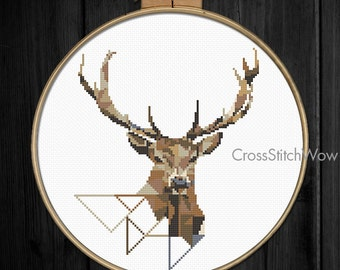 Deer cross stitch pattern, Modern cross stitch pattern, Geometric, Animals cross stitch, Woodland, Xstitch, Antlers