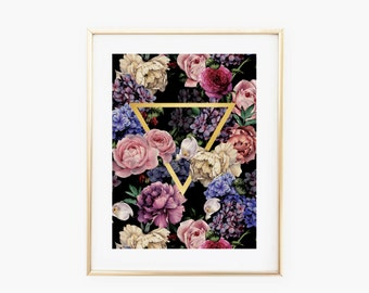 Floral Triangle Gold Art Print - Instant Digital Download