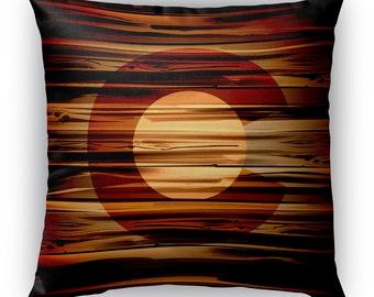 Colorado Flag Woodgrain Pillow