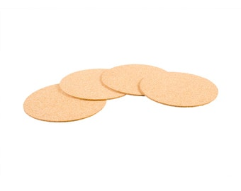 "Cork Circles with Self-Adhesive Backing - 3-1/2"" x 1/16"" - Pack of 50"