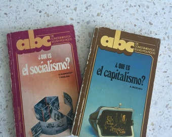 Vintage spanish books on the topics of Socialism and Capitalism (1987/89)