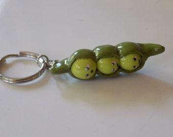 Peas in a Pod Keychain-Polymer Clay