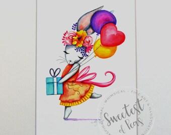 Watercolor Nursery Art, Celebrate, Bunny, Rabbit, Giclee Print, Original Artwork, Children's Illustrations, Nursery Wall Art