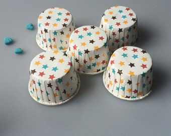 Colourful Stars Baking Cups, Cupcake Cups, Treat Cups, Ice Cream Cups, Candy Cups, Favour Cups - BC010