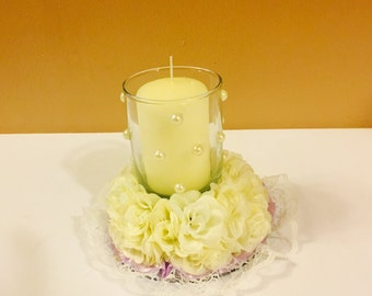 Flower Candle Holder with Candle