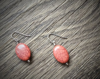Silver Plated Oval Peach Faux Earrings