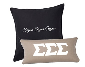 """Sigma Sigma Sigma Pillow . Optional Set of 2 . Black Square Pillow with Greek Words . Tan Lumbar with 4"""" White Stitched Letters"""