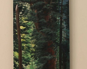 Redwood Tree Original Acrylic Painting on Canvas