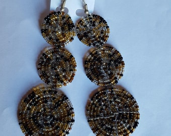 Beaded brown multicolored dangle 3 In 1 earrings