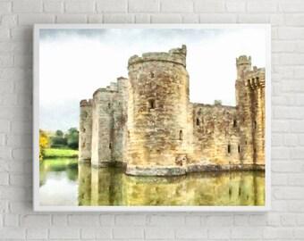 battlements england britain - Aquarelle Watercolor Painting Digital Wall Art Instant Download