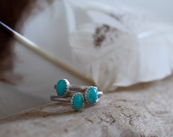 High grade Natural No.8 Turquoise & Sterling Silver Ring with beaded stacking band boho style