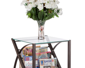 Magazine Stand End Side Corner Table with Fabric Compartment Glass Top