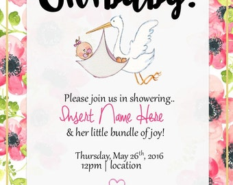 Oh Baby! Customizable Invitation.