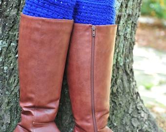 Crochet Boot Cuff,Boot Cuff,Royal Blue Crochet Boot Cuff,Acrylic. MADE IN USA!