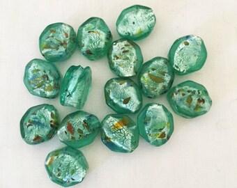 Pretty Light Green Lampworked Beads, 14mm, Octagonal,  3mm hole, 15 beads/1 set