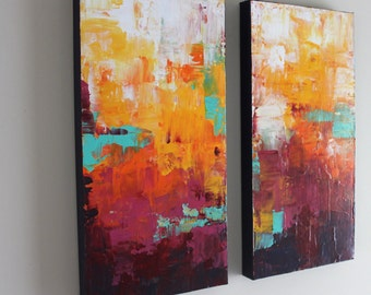 Palette Knife Art - Set of Two Abstract Painting