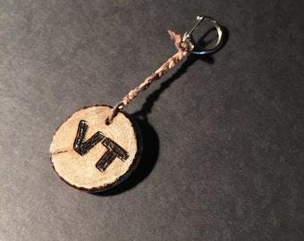 Wood Burn Keychain: VT