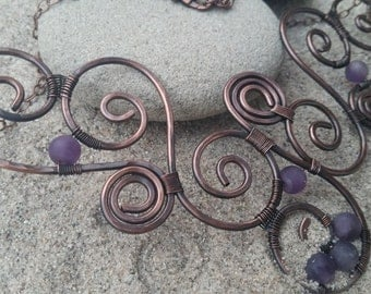 handmade copper wire necklace with amethyst gemstone, antique copper wire necklace, copper amethyst jewelry