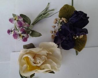 Set of three vintage hat flowers