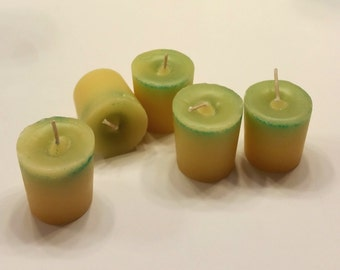 5 pack Votive Candles (Vanila scent), soy wax paraffin wax ,scented, wick, dye, coloring, glitter