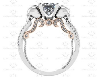 Le Seul Desir White/Rose Gold Accents Skull Engagement Ring