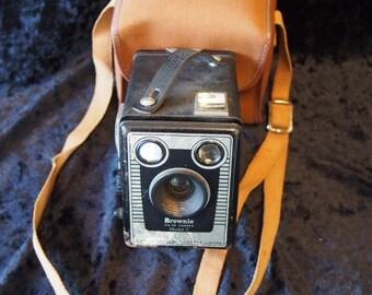 Kodak Brownie six-20 Model C Box Caera with case.