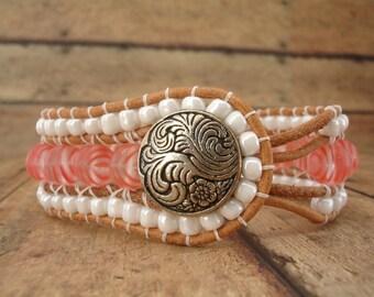 Rose Tiger Leather Wrap Bracelet