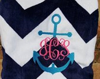 Custom Monogram Chevron Towel