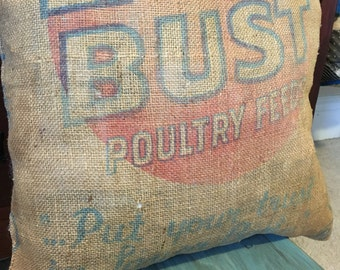 Burlap Chicken Feed Bag Pillow