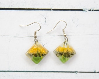 Fused glass earrings Dangle earrings Fused glass jewelry Fused glass drop earrings clear yellow brown green A17