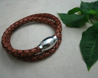 Leather Bracelet Braided Men's Bracelet Stainless Steel Magnetic Clasp Antique Tan Braided Leather Women's Bracelet Wrap