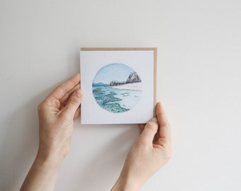 White Beach - blank watercolour greeting card - recycled, 125mm square - with kraft envelope