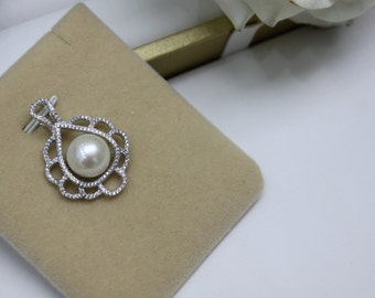 Sterling Silver Pearl Pendant  925 Sterling Silver Pendant With White Fresh water pearl (P103)