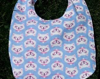 Cat bib, flannel baby bib, baby girl bib, snap bib, happy cat face