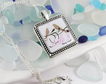 Personalised Loving Couple Birdie Necklace with Swarovski Birthstone