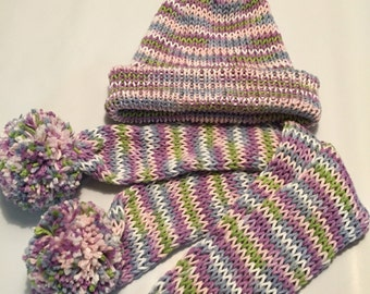 Pink and purple knit hat with scarf