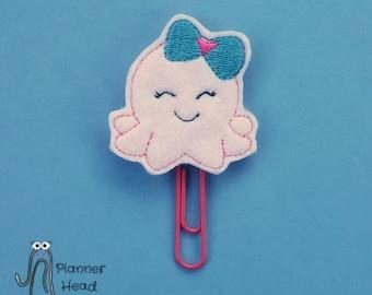 Octopus paper clip, octopus planner clip, baby octopus, girl octopus, pink octopus, octopus feltie