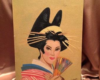 Striking Vintage Geisha Portrait on Canvas