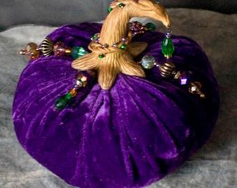 Jeweled Purple Velvet Pumpkin Glam Whimsical Fall Autumn Wedding Halloween Decor Hand Sculpted Stem