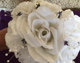 White Roses,Lavender and Lace