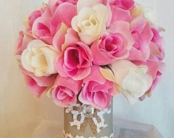 Country Elegance Centerpiece (Pink & White)