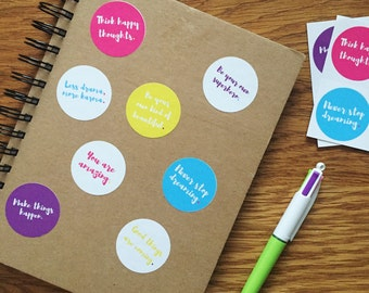 Set of 8 colourful motivational quote stickers , inspirational quote, motivational quote, stationary, quote stationary